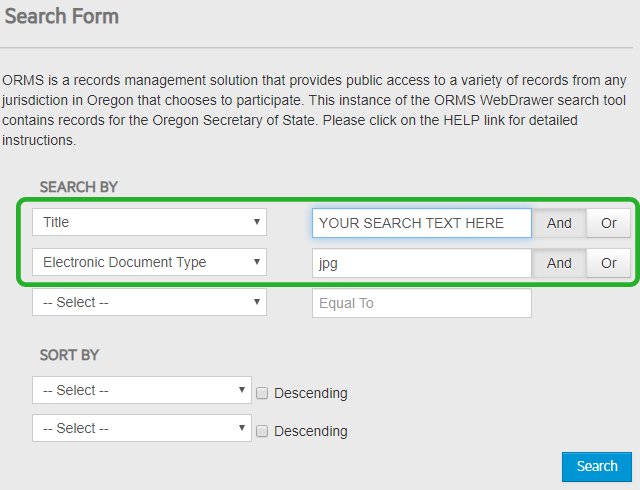 Screen shot shows the search screen in ORMS (Oregon Records Management Solutions) where a search can be made for images by title