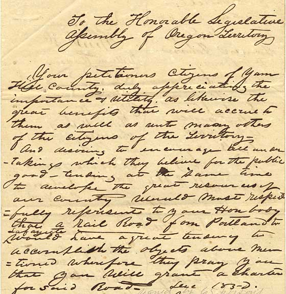 1850 petition from Yamhill county to Legislative Assembly