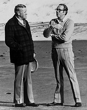 Tom McCall and Bob Straub talk on an Oregon beach.