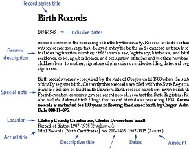 Sample entry shows record series title, generic description, notes and other features of a record series entry.