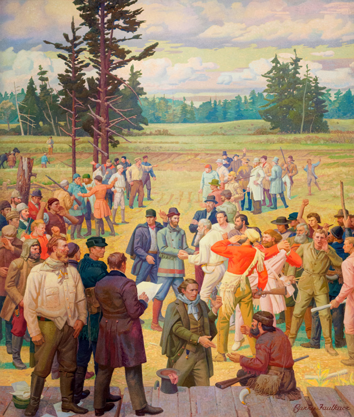 Painting of approximately 4 dozen white men gathered in a field in the Oregon Country.