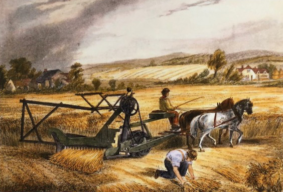 Painting of 2 men in a field. 1 man picks up armfulls of wheat while the other rides a piece of farm equipment pulled by horses.