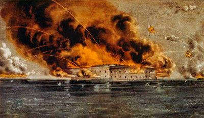 Painting of Fort Sumter on fire and burning. Streaks through the sky represent artillery fire raining down.