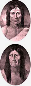 Drawings of Cayuse Indians with long hair.