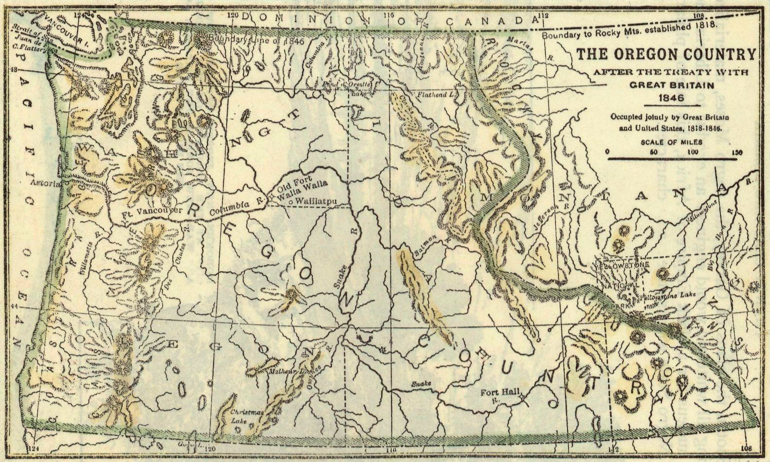1846 map of the Oregon Country after the treaty with Great Britain.