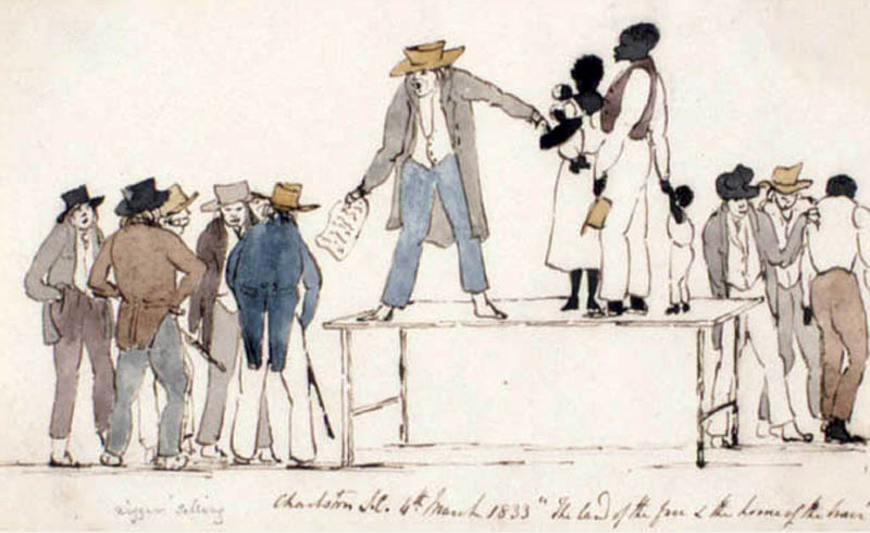 Drawing of slaves on a raised platform to be sold to white owners.