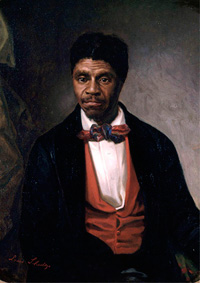 Painting of Dred Scott in a suit and bowtie with a bright red vest.