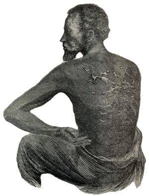 Drawing of a black man with scars on his back from lashes.