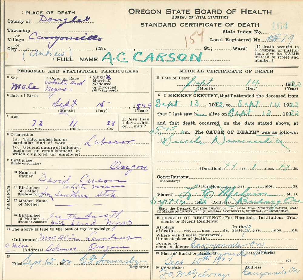 "oregon certificate of death for A.C. Carson, male, color or race ""white and negro."" Date of death Sept. 14, 1922"