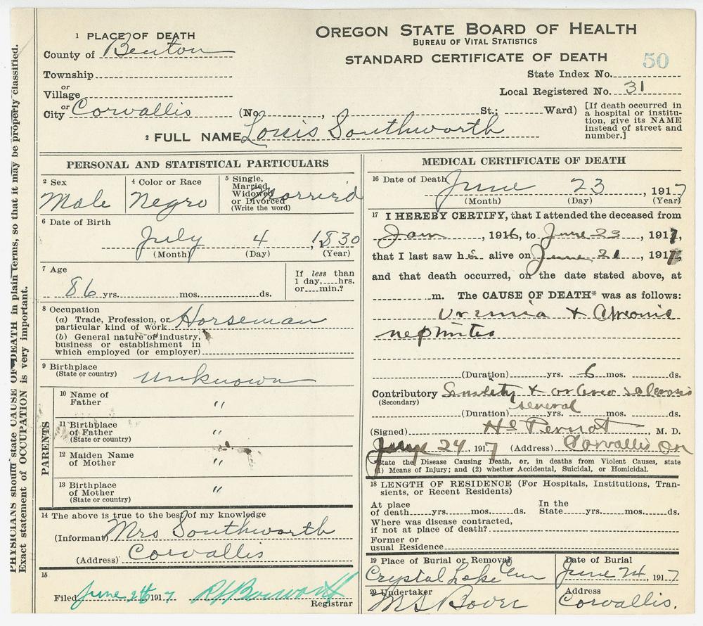 southworth oregon death louis certificate alexander lewis sos birth state