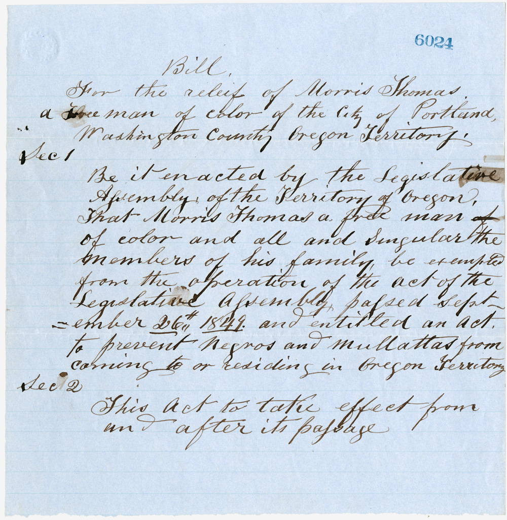 1854 bill allowing Morris Thomas to stay in Oregon.