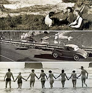 Composit of 3 photos featuring people sitting near Boiler bay, a car at Otter Crest, 8 people walking to ocean at Cannon Beach