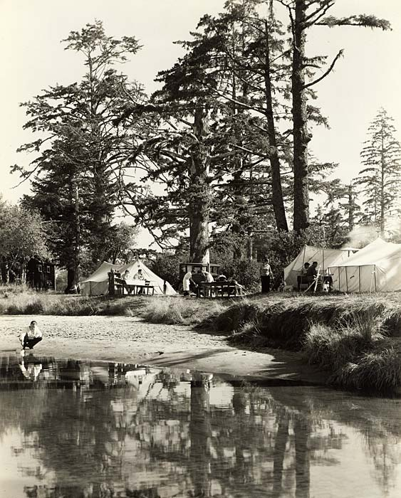 People picnic at tables with tents spread among tall evergreen trees beside a stream.