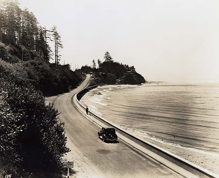 Single car drives along a road on the sea wall. Ocean on right and tall evergreen trees on left.