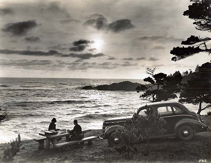 Two people sit at a picnic table by the ocean. Their car is parked nearby.