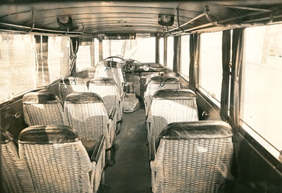 Columbia Gorge Motor Coach System bus interior in 1928
