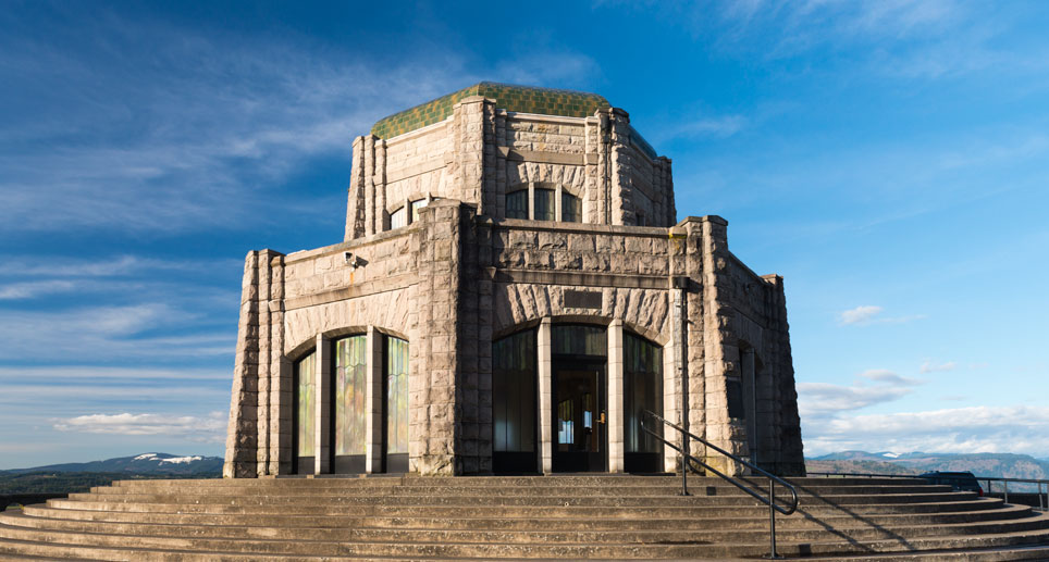 Vista House is an octagonal building on a hill top 733 feet above the river.