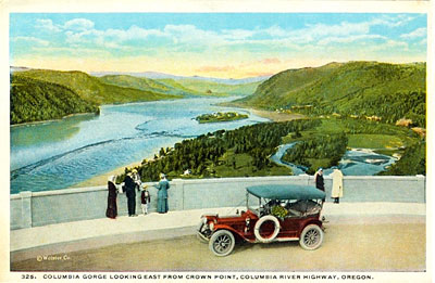 Drawing of Columbia Gorge view point with 1920s car and people standing looking out.