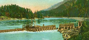 A postcard image of a fishwheel on the Columbia River