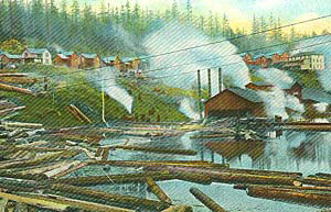 A postcard image of Bridal Veil Falls logging camp