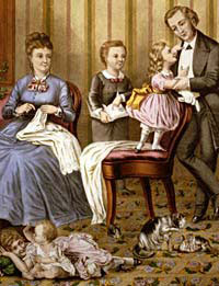 A painting of a domestic family