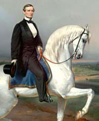 A painting of Jefferson Davis on a horse