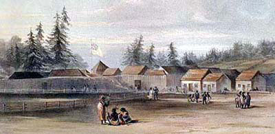 A painting of Fort Vancouver