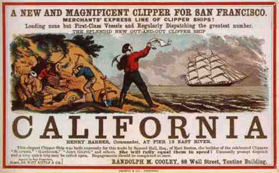 An advertisement for a ship to California