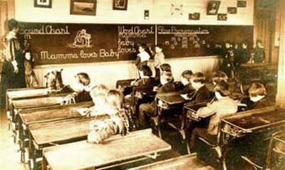 Students in a pioneer classroom