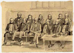 A drawing of a panel of jurors seated