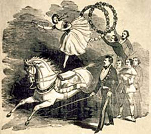 Drawing of circus performers with a horse.