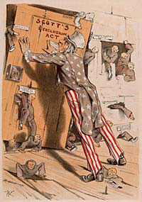 Uncle Sam holding a door in place