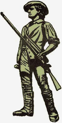 A drawing of a militia man
