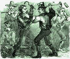 A drawing of 1800s men fighting