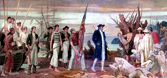 Mural drawing of Robert Gray in colonial British attier and his sailors meeting Native Americans on a beach.