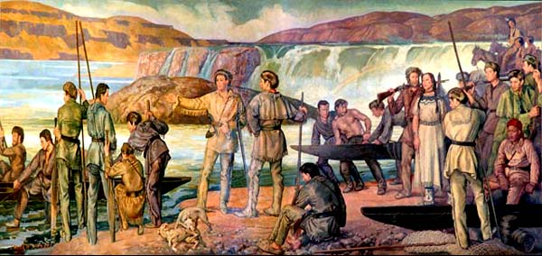 Mural painting of Lewis and Clark with Native Americans, trappers and boat men. They stand in front of a roaring river and falls