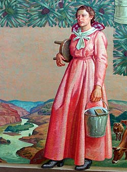 Mural drawing of pioneer woman with milking stool and milking bucket stands with images of cows and a river in the background.