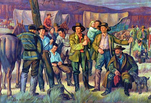 Mural of white settlers with their families and covered wagons pause on the Oregon Trail.