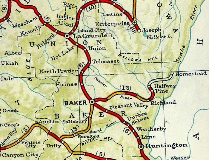 1940 map of Baker Oregon with highways.