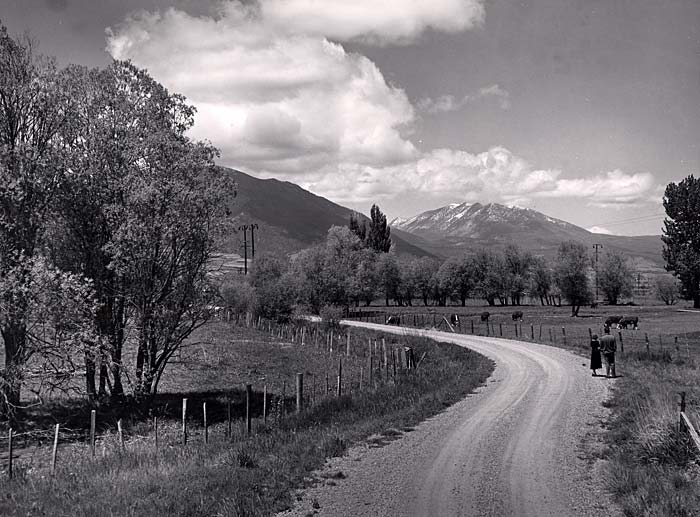 Rural winding road with farm land on each side and mountains in the distance.