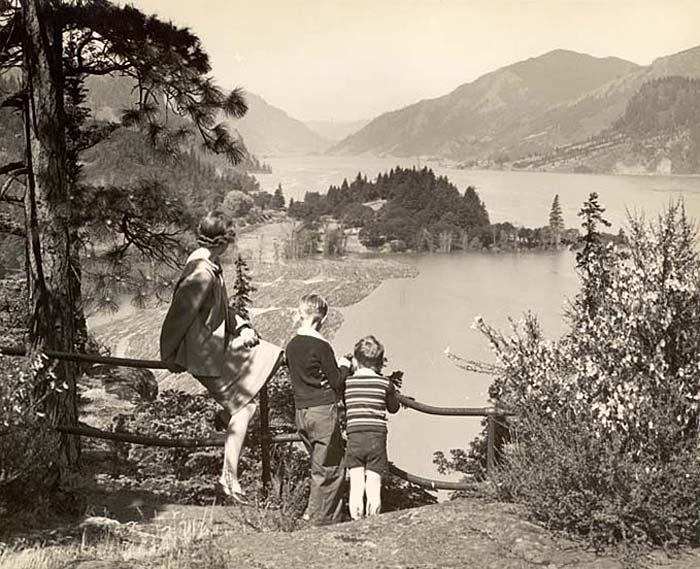 A woman and two young boys look out over a wooden railing at a panoramic view of the Columbia River.
