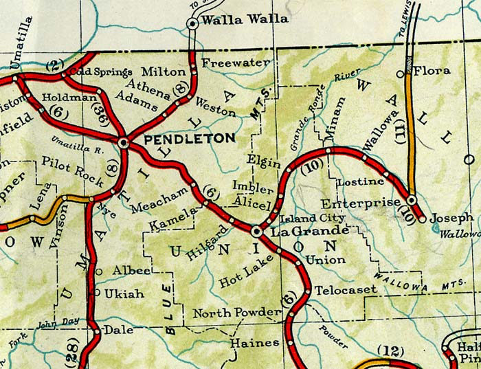 Section of 1940 map of Oregon from La Grande to Pendleton.