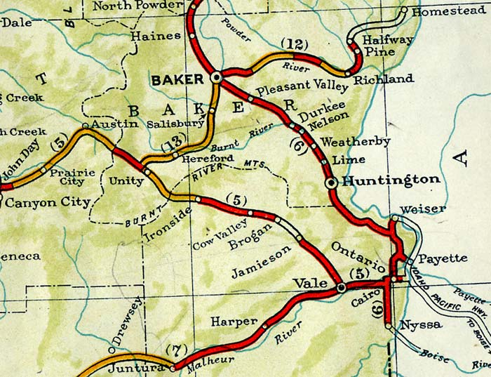 Section of map shows highway to Baker Oregon in 1940