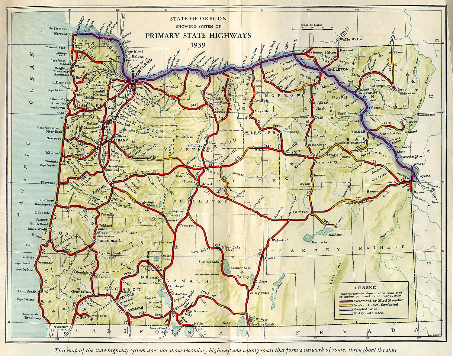Oregon Highway Map Oregon Secretary of State: Route Map