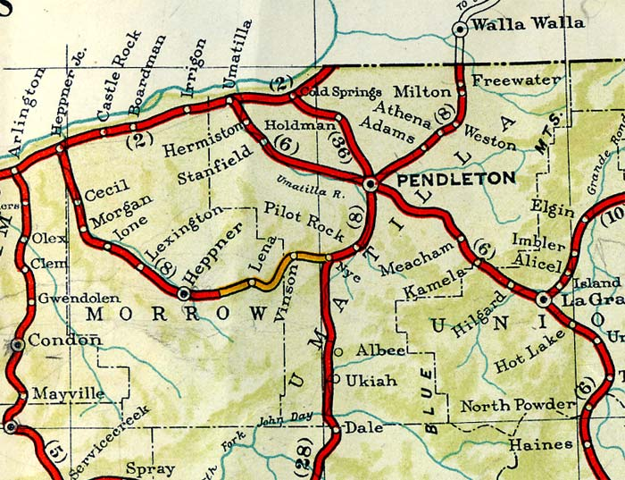 1940 highway map of Pendleton Oregon