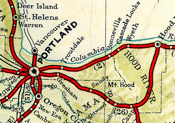 Map of Portland highways in 1940