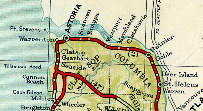 Section of 1940 map from Rainier to Astoria, Oregon.
