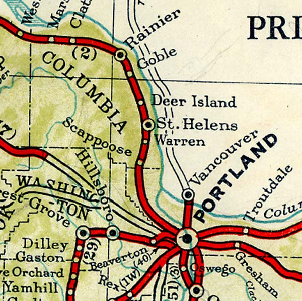 Section of 1940 map from Portland to Rainier Oregon.