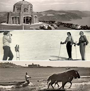 Collage of 3 images: vista house in the columbia gorge, 3 women skiing, horse pulling a net in a river with a man holding reins.