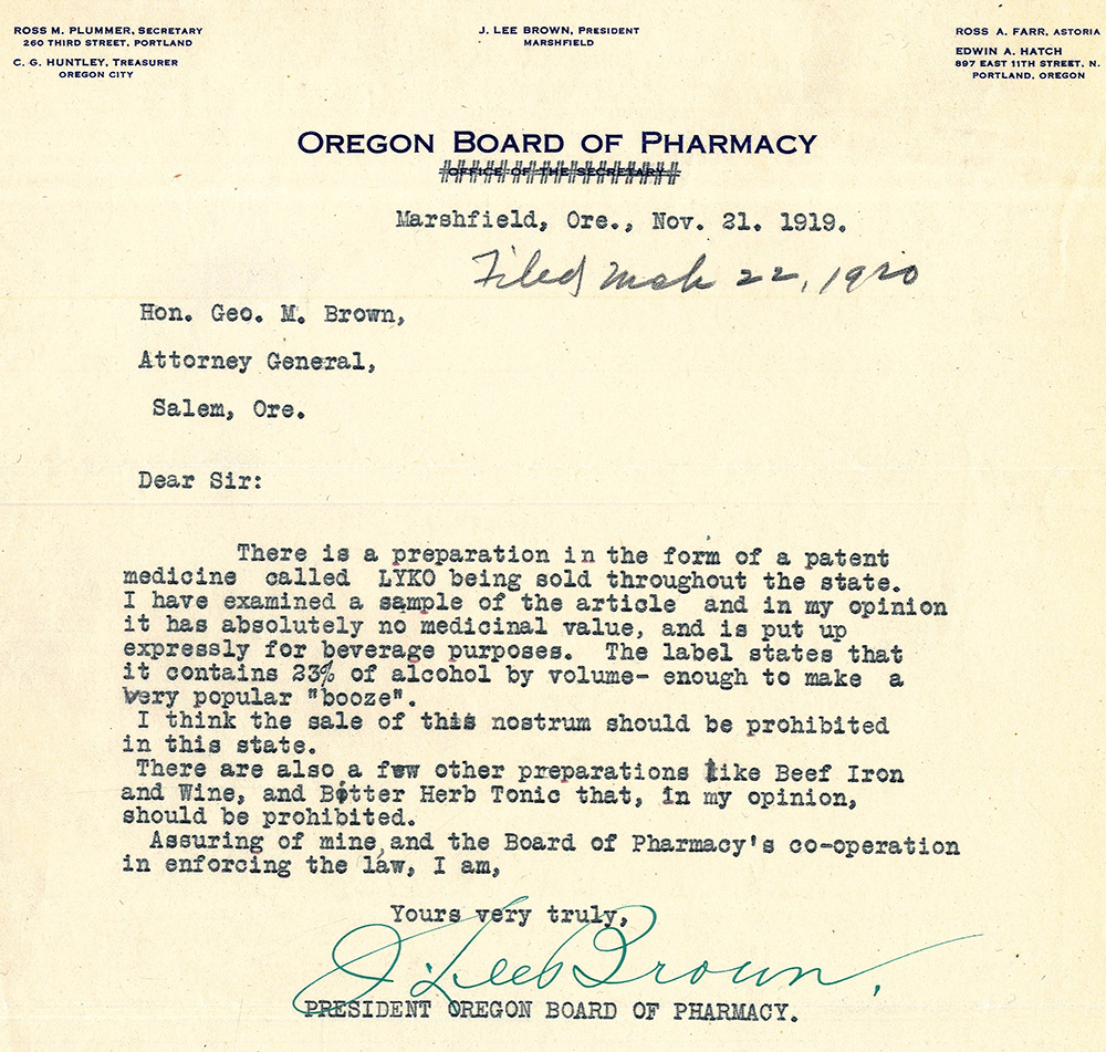 Letter to Attorney General in Salem Oregon from Oregon Board of Pharmacy in Marshfield Oregon.